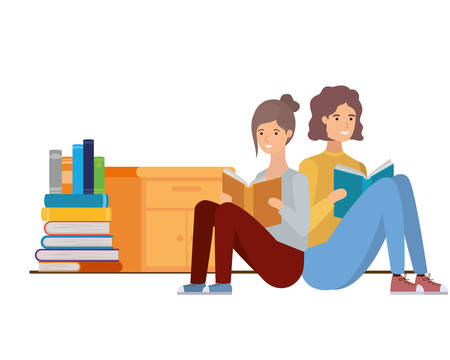 couple with book in hands in living room vector illustration design Иллюстрация