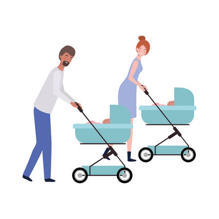 young couple standing with a newborn baby in pram vector illustration design