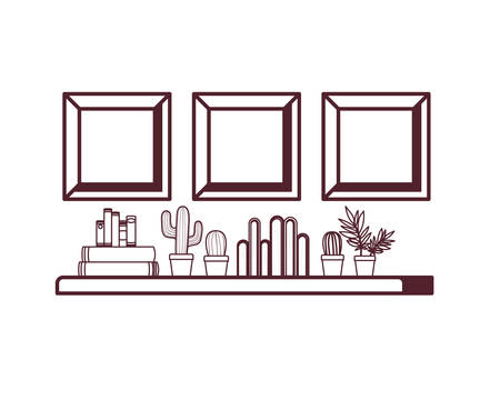 silhouette of shelving with books in white background vector illustration design Stock Illustratie