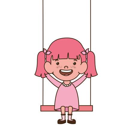 baby girl in swing smiling on white background vector illustration design
