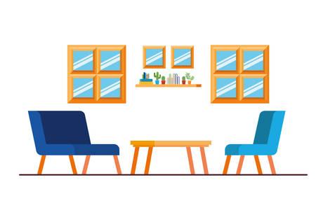 comfortable sofa in living room with white background vector illustration design Vektorové ilustrace