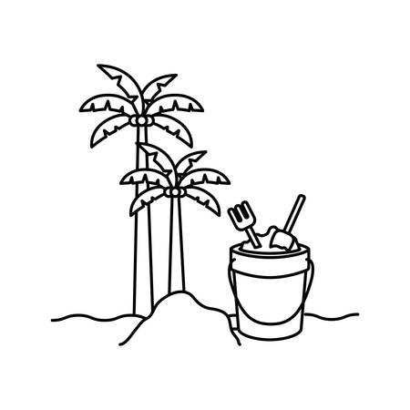 silhouette of palm tree with coconut and sand bucket vector illustration design Иллюстрация
