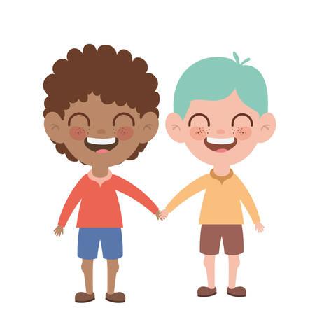 boys standing smiling on white background vector illustration design Иллюстрация