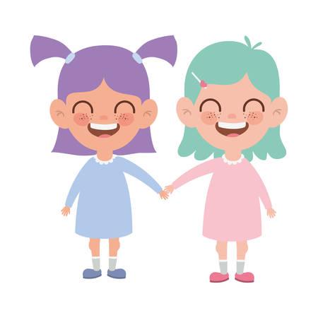 girls standing smiling on white background vector illustration design Иллюстрация