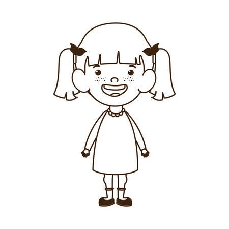 girl standing smiling on white background vector illustration design Иллюстрация