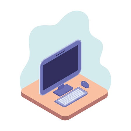 desktop computer screen with keyboard and mouse vector illustration design