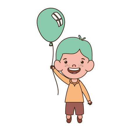 baby boy smiling with helium balloon in hand vector illustration design Иллюстрация