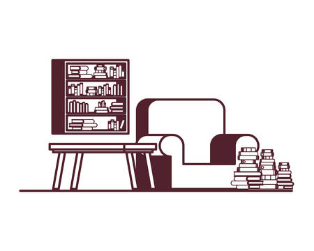 silhouette of living room with couch and bookshelf of books vector illustration design Vectores