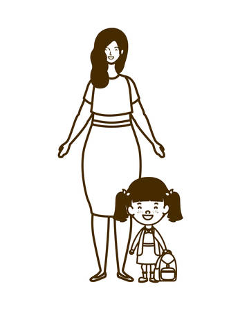 silhouette of woman with daughter of back to school vector illustration design