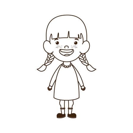 girl standing smiling on white background vector illustration design