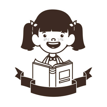 silhouette of student girl with school supplies vector illustration design Banque d'images - 129241138