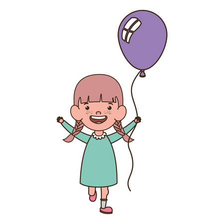 baby girl smiling with helium balloon in hand vector illustration design