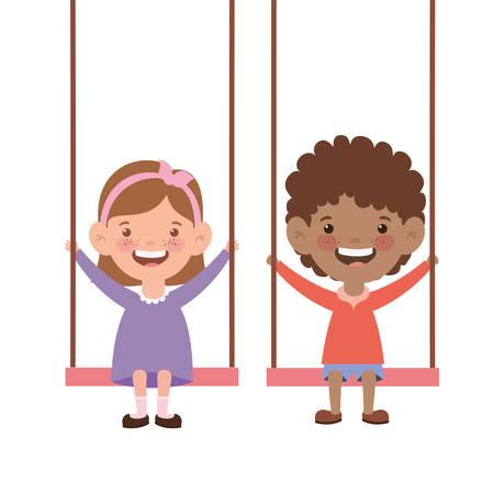 couple kid in swing smiling on white background vector illustration design
