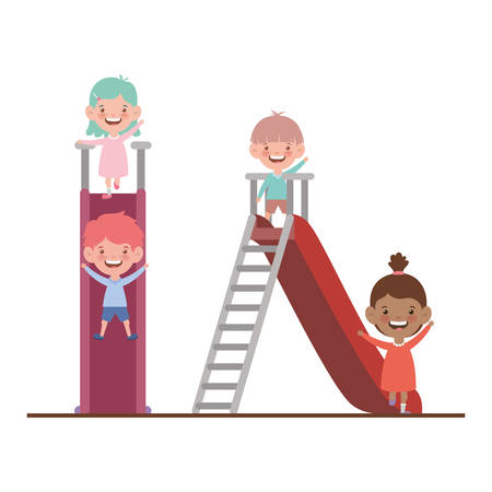 group of kid in park of play with slide vector illustration design