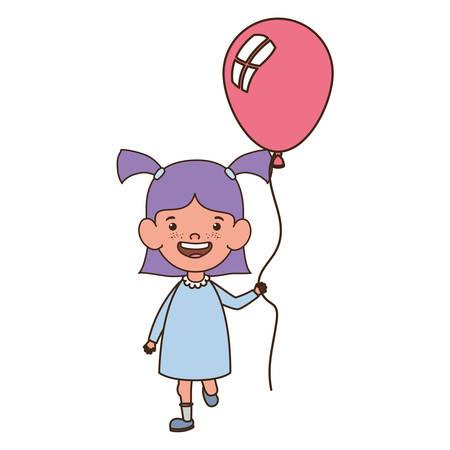 girl smiling with helium balloon in hand vector illustration design Иллюстрация