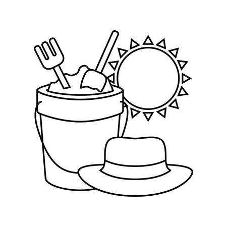 silhouette of sand bucket with tools to play vector illustration design Иллюстрация