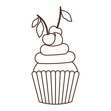 delicious cupcake with cream on white background vector illustration design