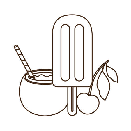 ice cream of tropical fruits on white background vector illustration design Иллюстрация