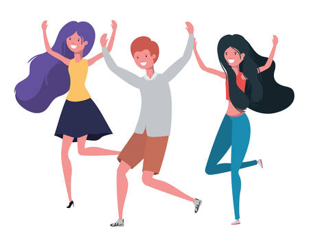 group of people dancing in white background vector illustration design