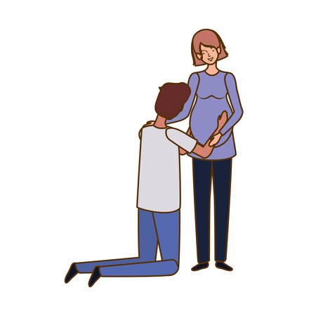 pregnant woman with husband standing vector illustration design