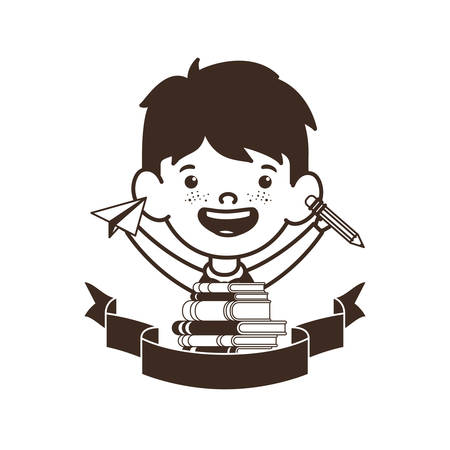 silhouette of student boy with school supplies vector illustration design Banque d'images - 129235571