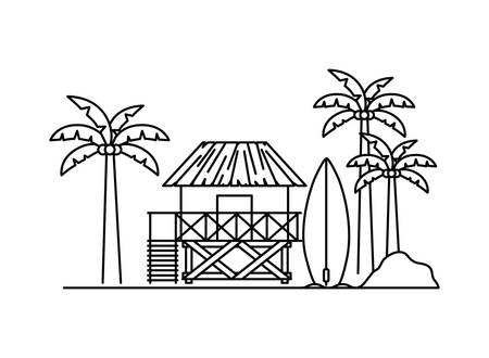 silhouette of wooden house on the beach with white background Stock Illustratie