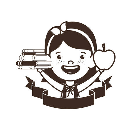 silhouette of student girl with school supplies vector illustration design Banque d'images - 129253784