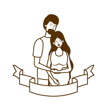 silhouette of pregnant woman with husband with decorative ribbon vector illustration design