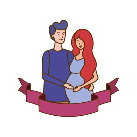 pregnant woman with husband with decorative ribbon vector illustration design Иллюстрация
