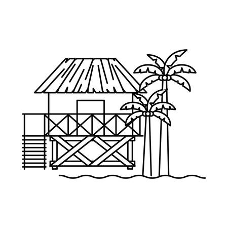 silhouette of house on the beach with white background vector illustration design Vettoriali