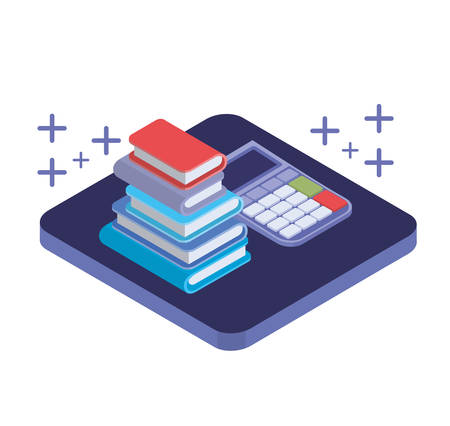 calculator with stack of books in white background vector illustration design