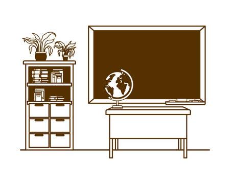 silhouette of chalkboard of school in classroom vector illustration design Illustration