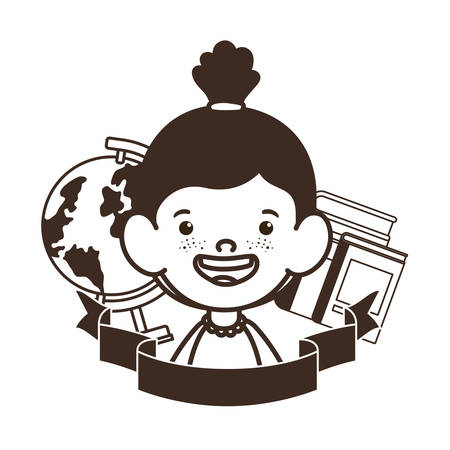 silhouette of student girl with school supplies vector illustration design Banque d'images - 129241909