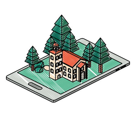 smartphone with camp and building isometric vector illustration design Foto de archivo - 129253792