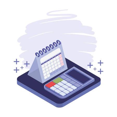 calculator and calendar in white background vector illustration design Çizim