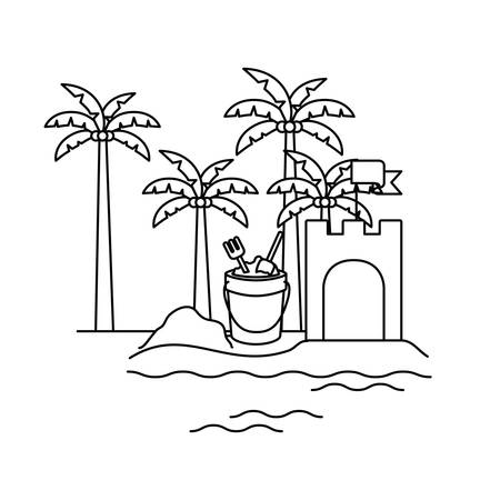 silhouette of palm tree with coconut and sand bucket vector illustration design Ilustracja