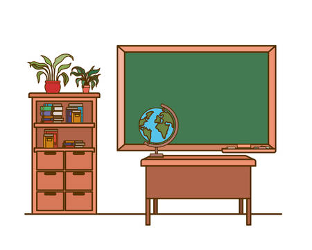 chalkboard of school in classroom vector illustration design