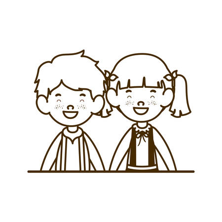 silhouette of couple of students smiling on white background vector illustration design 일러스트