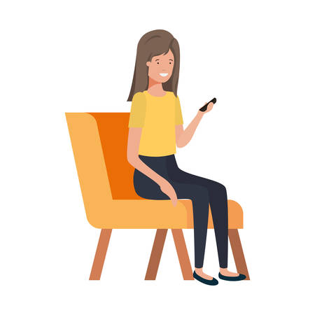 woman sitting in chair with smartphone on white background vector illustration design