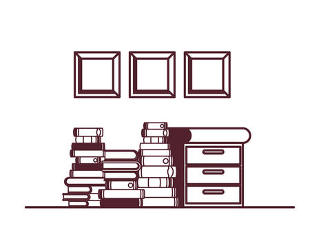 shelving with books in white background vector illustration design 일러스트