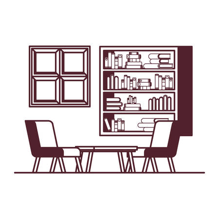 silhouette of living room with couch and bookshelf of books vector illustration design Ilustracja