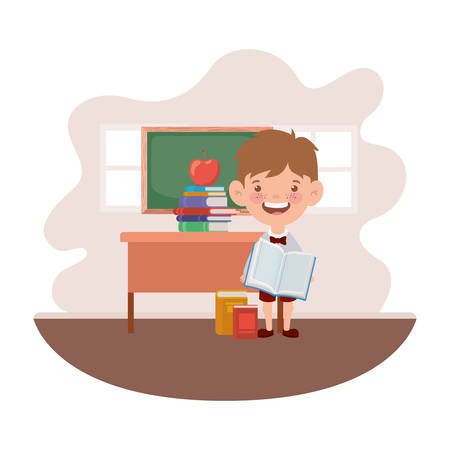 student boy with school supplies in the classroom vector illustration design Ilustracja
