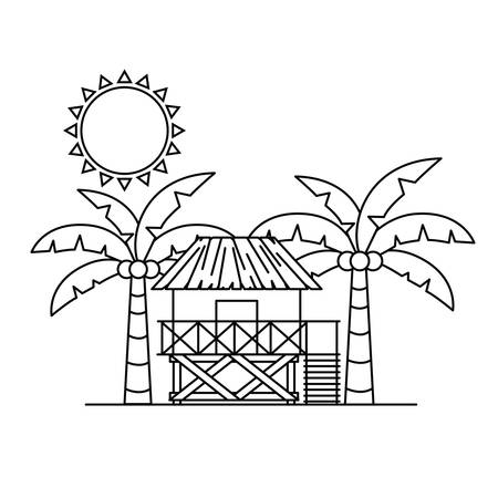 silhouette of wooden house on the beach with white background Ilustração