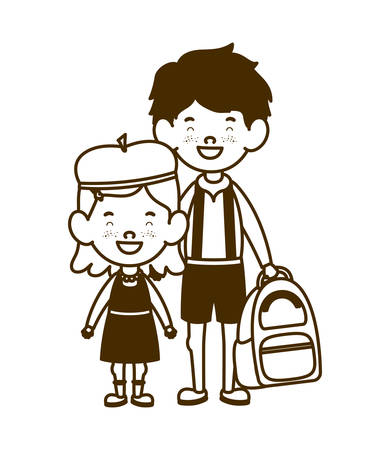 silhouette of couple of students standing on white background vector illustration design