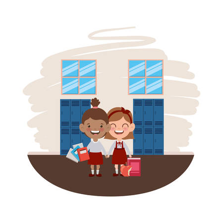 student girls with school supplies in the classroom vector illustration design