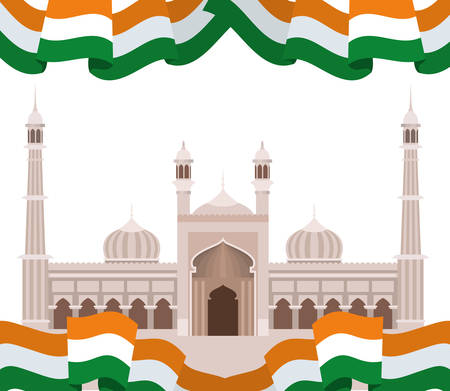 celebration of Indian independence day with flag vector illustration design Foto de archivo - 129254069