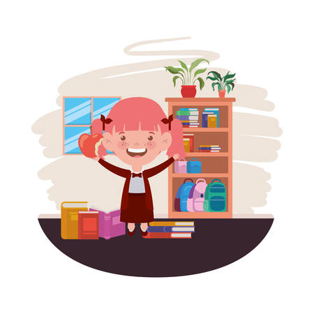 student girl with school supplies in the classroom vector illustration design