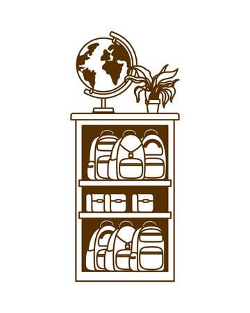 silhouette of bookshelf with school books vector illustration design Vectores