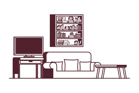 comfortable sofa in living room with plasma tv vector illustration design