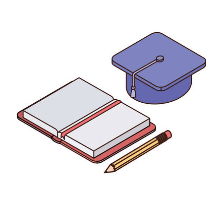 book of school with pencil and graduation hat on white background vector illustration design